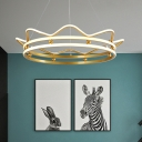 Acrylic Crown Chandelier Light Fixture Modernist LED Suspension Lighting in Gold for Bedroom