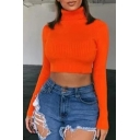 Womens Simple Plain Turtleneck Long Sleeve Sexy Fitted Cropped Pullover Sweater Top