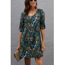 Popular Womens Allover Floral Printed Half Sleeve V-neck Short A-line Dress