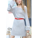 Stylish Solid Color Knitted Long Sleeve Off the Shoulder Belted Short A-line Sweater Dress