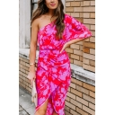 452773 Glamorous All-over Floral Printed Single Sleeve Mid Sheath Wrap Dress in Red