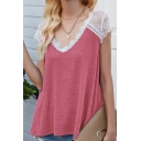 Leisure Ladies Sheer Lace Patched Short Sleeve V-neck Relaxed Fit T Shirt