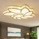Modernity Flower Flush Light Fixture Acrylic LED Bedroom Ceiling Lamp in Chrome with Crystal Edge, Warm/White Light