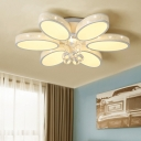 Contemporary Floral Ceiling Lamp White Acrylic LED Bedroom Flush Mount Fixture with Crystal Accent