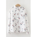 Chic Girls Plant All Over Print Long Sleeve Turn Down Collar Button Up Chest Pocket Relaxed Shirt Top