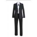 Girls Cosplay Long Sleeve Lapel Neck Single Breast Relaxed Blazer Long Straight Pants Fit Shirt Co-ords in Black