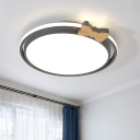 Acrylic Bowknot and Round Flushmount Macaron Style LED Ceiling Mounted Light in Grey/White/Green
