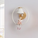 Nordic Barrel Wall Mount Lamp Fabric Shade 1 Light Bedside Wall Lighting Ideas with Angel/Deer Deco in Pink/Blue