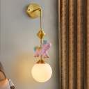 Opaline Glass Ball Wall Lighting Ideas Cartoon 1-Bulb Pink/Blue Wall Mount Lamp with Unicorn Deco