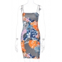 Vintage Girls Tiger Floral Mixed Cartoon Pattern Spaghetti Straps Short Tight Colorful Cami Dress