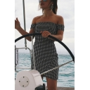 Lovely Girls Checkered Printed Off the Shoulder Bow Tied Back Short Sheath Dress in Black