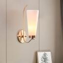 Conical Metallic Wall Light Fixture Colonial 1/2 Bulbs Living Room Wall Mount Lighting in Brass
