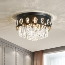 Layered Crystal Rod Black Flush Light Drum Shaped 7-Bulb Contemporary Close to Ceiling Lamp