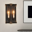2 Lights Resin Wall Mounted Lamp Country Black Candle Living Room Sconce with Iron Frame