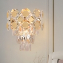 LED Flush Mount Wall Sconce Modern Multi-Tier Clear Beveled Crystal Wall Lighting Ideas in Gold