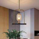 1 Light Dining Room Hanging Light Modern Black and Gold Pendulum Lamp with Oval Amber Glass Shade