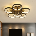 Floral Kitchen Semi Mount Lighting Modern Crystal Black/White LED Close to Ceiling Lamp in Warm/White Light