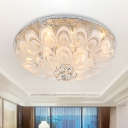 8/10-Light Flush Mounted Light Fixture Modern Peacock Tail Inspired Clear Crystal Ceiling Lamp, 23.5