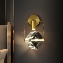 Brass LED Mini Wall Light Fixture Postmodern Clear Crystal Cubic Sconce Light for Bedroom