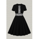 Gorgeous Ladies Lace Panel Short Sleeve Crew Neck Midi Pleated Flared Dress in Black