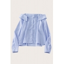 Popular Womens Solid Color Button Down Off the Shoulder Long Sleeve Relaxed Fit Cami Shirt