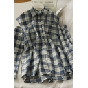 Hot Popular Plaid Pocket Button Up Pleated Long Cold Sleeve Turn Down Collar Loose Fit Tunic Shirt for Girls
