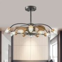 3-Blade 12 Bulbs Sputnik Fan Lighting Rustic Black-Brown Cut Crystal Semi Flush Ceiling Light, 36.5