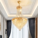Cone Crystal Ceiling Chandelier Contemporary 5/8 Lights Dining Room Hanging Pendant in Gold