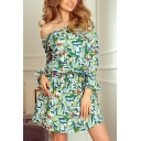 Stylish All over Print Tie Waist Off the Shoulder Long Flare Cuff Sleeve Mini Sheath Dress for Women