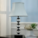 Modern Bell Night Table Lamp Fabric Bedroom LED Nightstand Light in White with Clear Crystal Column