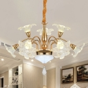 Clear Crystal Gold Drop Lamp Blooming Flower 7/10-Head Modernist Chandelier Light Fixture