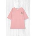 Simple Girls Cartoon Bear Printed Round Neck Short Sleeve Loose Fit Tee Top