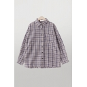 Classic Womens Plaid Checkered Pocket Buttun Down Pleated Long Sleeve Collared Oversized Shirt in Purple