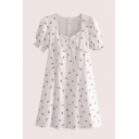 Boutique Girls Rose Printed Pleated Zip Back Square Neck Short Puff Sleeve Midi A-Line Dress in White