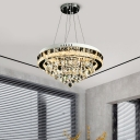 Conical Crystal Orbs Hanging Lamp Modern Dining Room LED Chandelier Light in Chrome