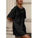 Simple Solid Color Round Neck Short Sleeve Mini Swing T Shirt Dress for Women