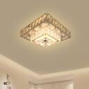 2-Tier Square Corridor Ceiling Lamp Modern Beveled Crystal Stainless Steel LED Flush Light Fixture
