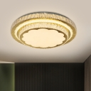 2 Layers Round Crystal Ceiling Light Modernist Living Room LED Flush Mount Recessed Lighting in Stainless Steel