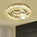 Dining Room LED Semi Mount Lighting Contemporary Stainless-Steel Ceiling Flush Mount with Circular Crystal Shade