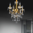 Candle Flame Pendant Lighting Modern Clear Crystal 5/7/9 Heads Dining Room Chandelier Light in Gold with Bobeche
