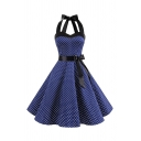 Trendy Summer Polka Dot Print Patchwork Bow Lace Up Back Straps Sleeveless Midi Swing Dress for Womens