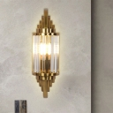 1 Bulb Living Room Surface Wall Sconce Contemporary Gold Wall Lighting with Cylinder Crystal Shade