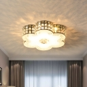 Contemporary Floral LED Flush Light Crystal Block Ceiling Mounted Fixture in White, 15.5