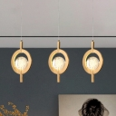 Gold Circle Drop Pendant Modernist Seeded Crystal Dining Table LED Hanging Light Fixture