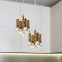 Brass Flute Down Lighting Pendant Postmodern Crystal Orbs Kitchen LED Hanging Lamp