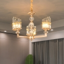 Traditional Half-Cylinder Up Lighting 3/6-Bulb Clear Crystal Chandelier Lamp in Gold for Drawing Room