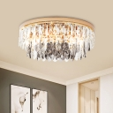 Dual-Tiered Flush Mount Lamp Contemporary Clear Crystal Block 11