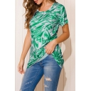 Fancy Abstract Strip Printing Cross Back Round Neck Short Sleeve Regular Fit Tunic Top Tee for Ladies