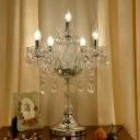 Candelabra Crystal Table Light Traditional 5/6/7-Light Bedroom Night Lighting in Chrome