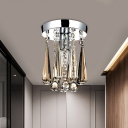 1 Bulb Clear/Cognac Crystal Flush Mount Traditional Chrome Teardrop Corridor Close to Ceiling Light